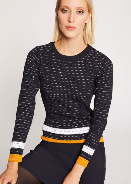 Robe patineuse a bandes contrastantes marine femme