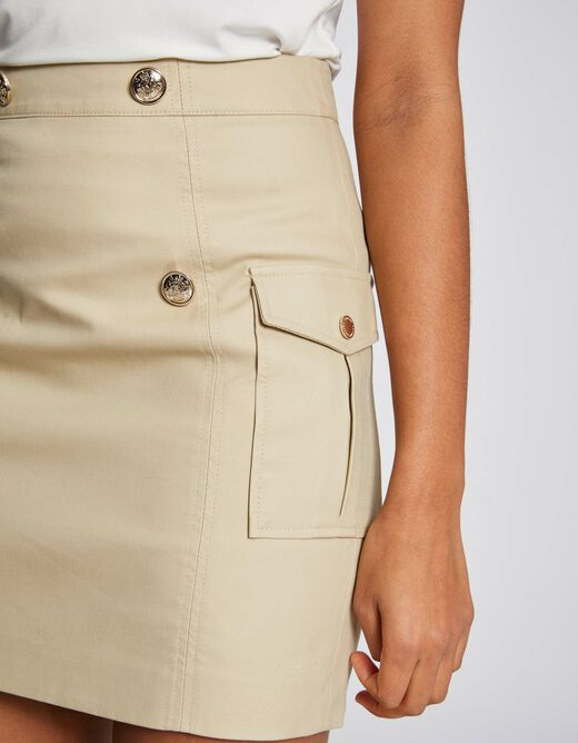 High-waisted fitted skirt with buttons beige ladies'