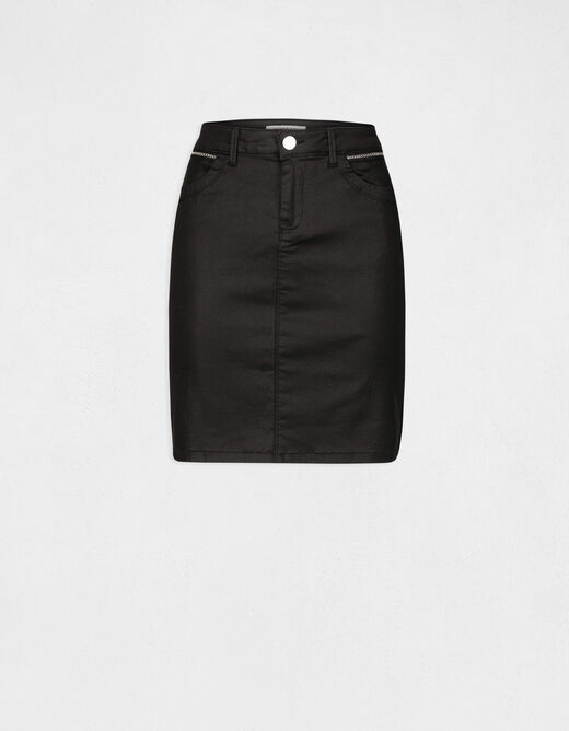 High-waisted fitted skirt chain details black ladies'