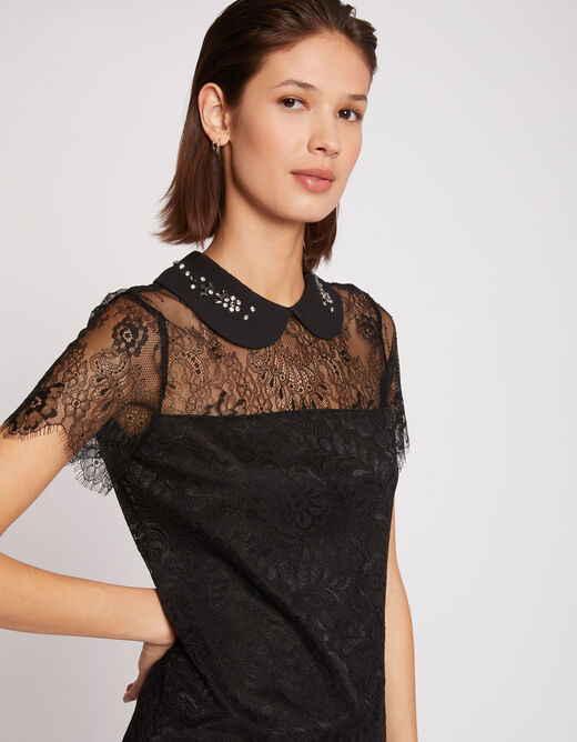 Short-sleeved blouse lace and slit black ladies'