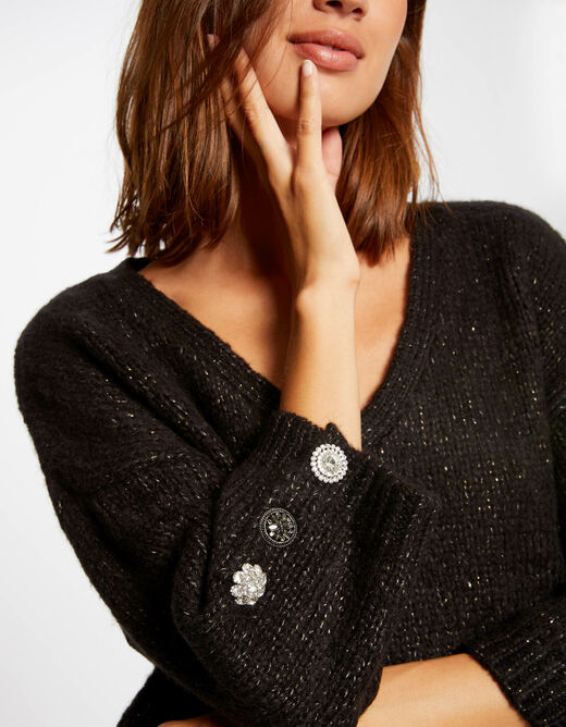 3/4-length sleeved jumper with buttons black ladies'
