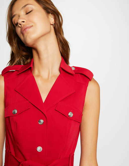 Straight buttoned and belted dress red ladies'