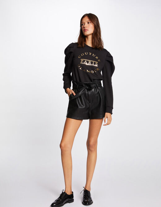 Long-sleeved sweat with message black ladies'