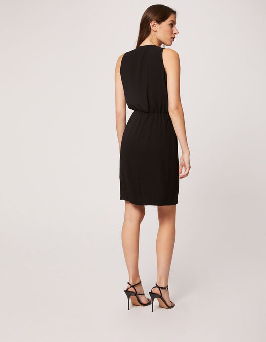 Straight dress with wrap-over effect black ladies'