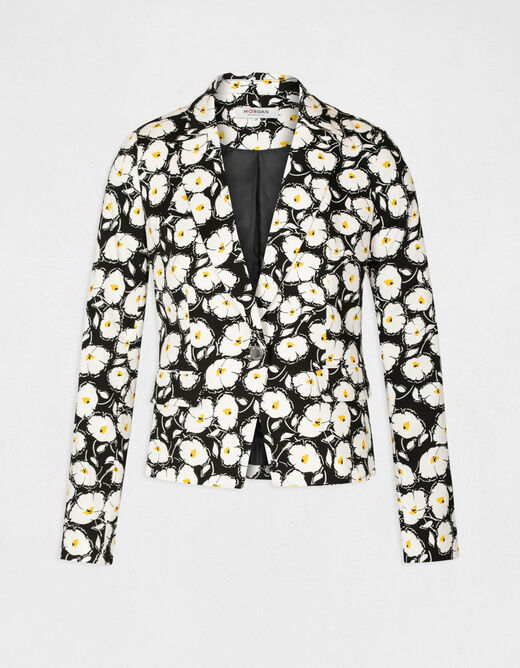 Straight buttoned jacket floral print black ladies'