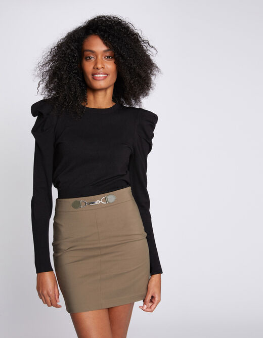 High-waisted fitted skirt with ornament khaki ladies'