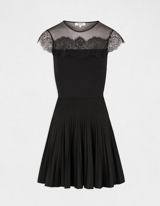 Skater jumper dress with lace black ladies'