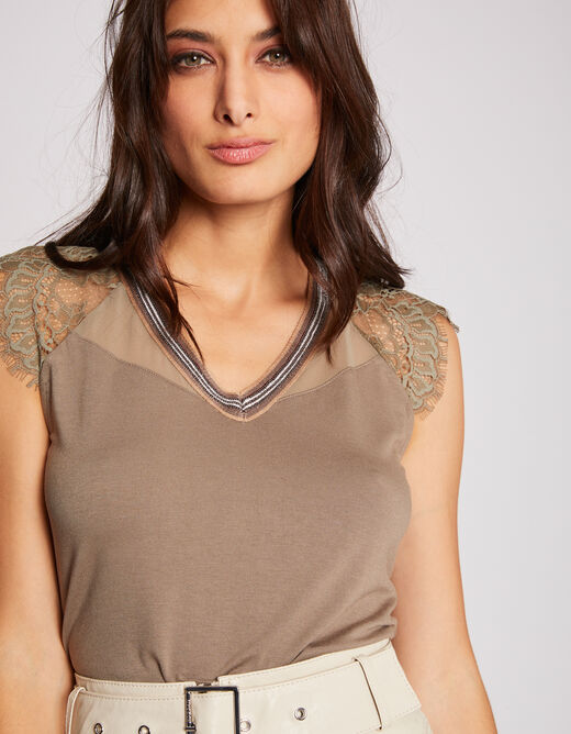 Short-sleeved t-shirt with lace details khaki ladies'