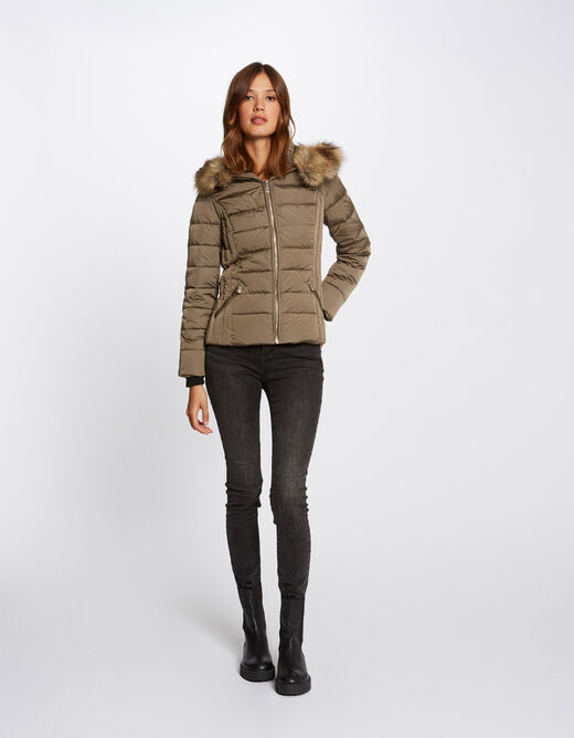 Waisted padded jacket with hood bronze ladies'