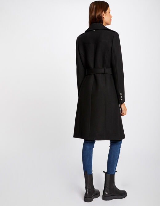 Straight buttoned and belted coat black ladies'