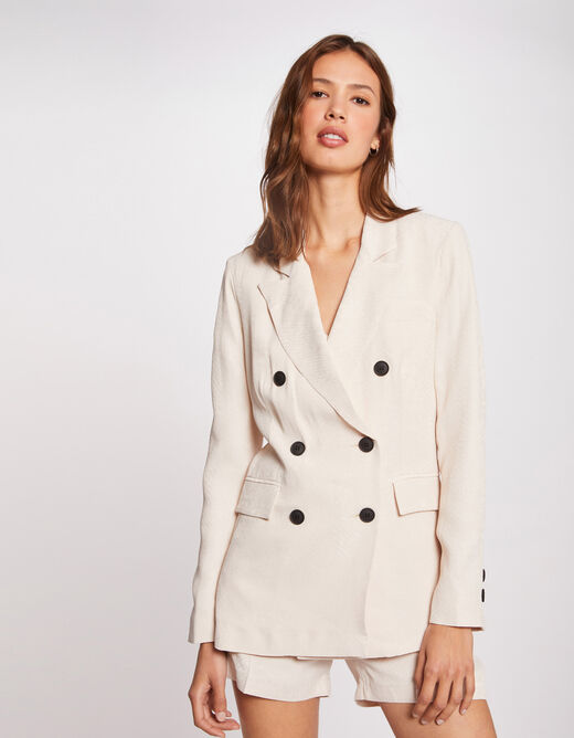 Straight buttoned jacket ivory ladies'