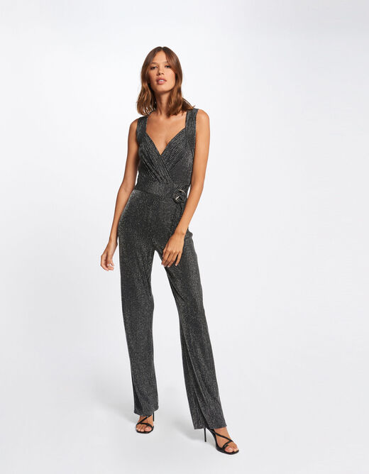 Straight jumpsuit with stripes light grey ladies'