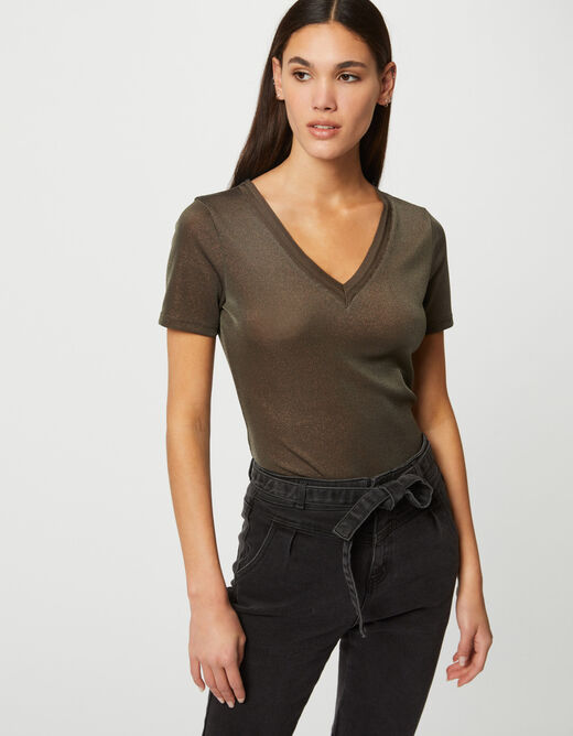 Short-sleeved t-shirt with V-neck taupe ladies'