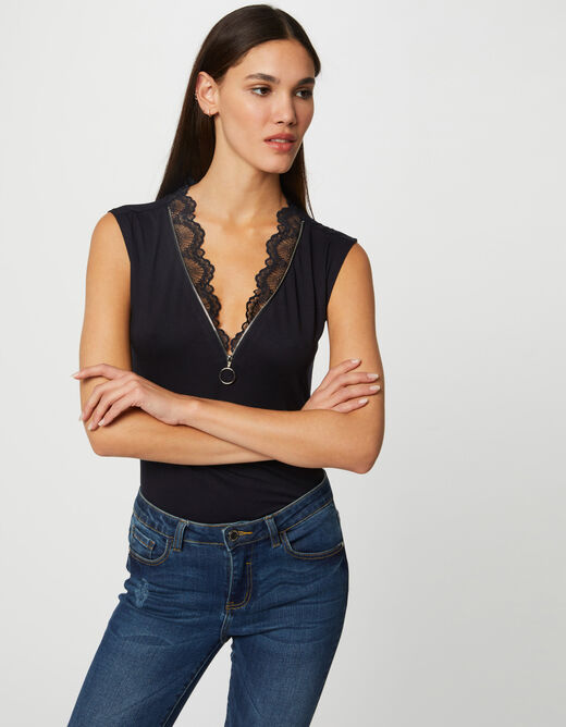 Short-sleeved t-shirt with V-neck navy ladies'