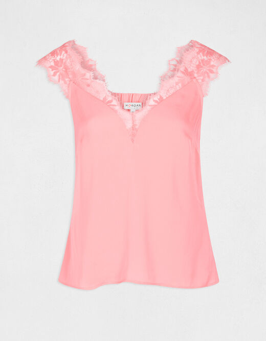 Blouse with wide straps in lace fuchsia ladies'