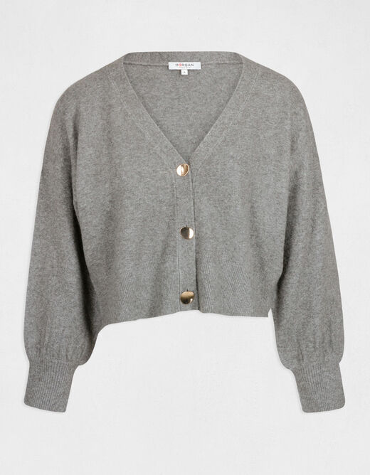 Cardigan with puff long sleeves light grey ladies'