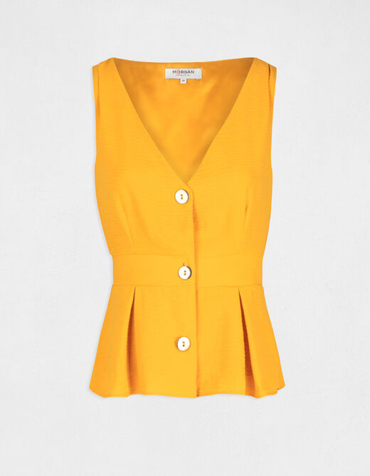 Blouse with wide straps and buttons yellow ladies'