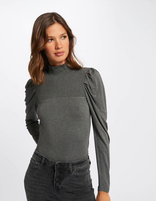 Long-sleeved t-shirt with smocked collar mid-grey ladies'