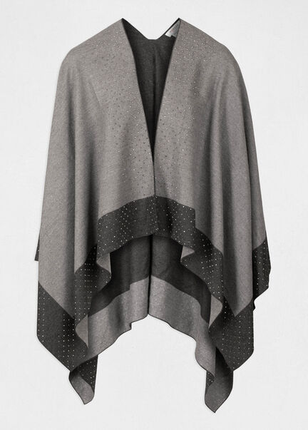 Poncho manches longues details strass gris anthracite femme