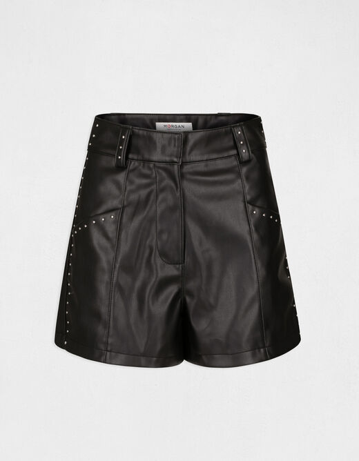 High-waisted straight shorts with studs black ladies'