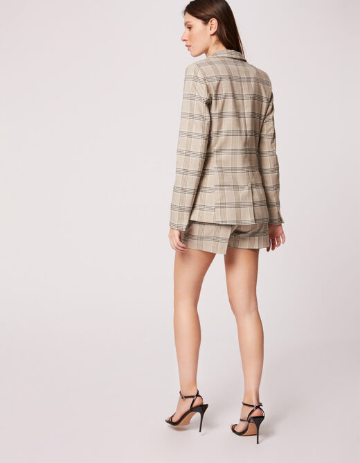 Straight shorts with check print beige ladies'