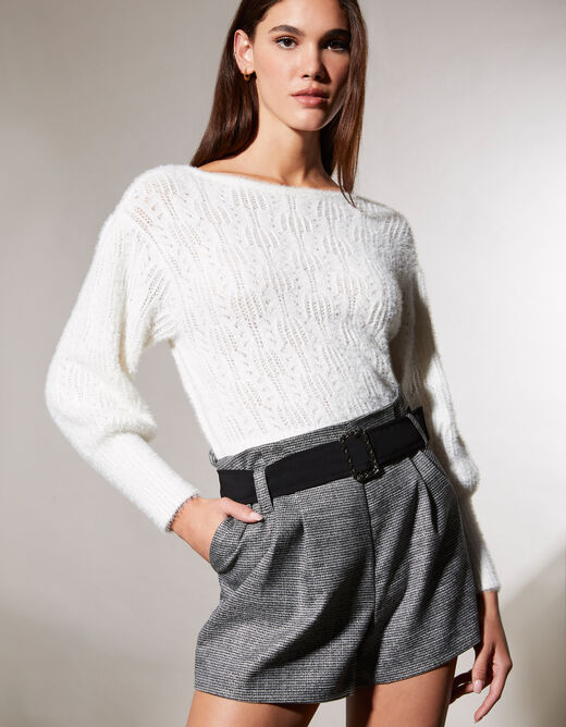 Long-sleeved cardigan with fluffy knit ecru ladies'