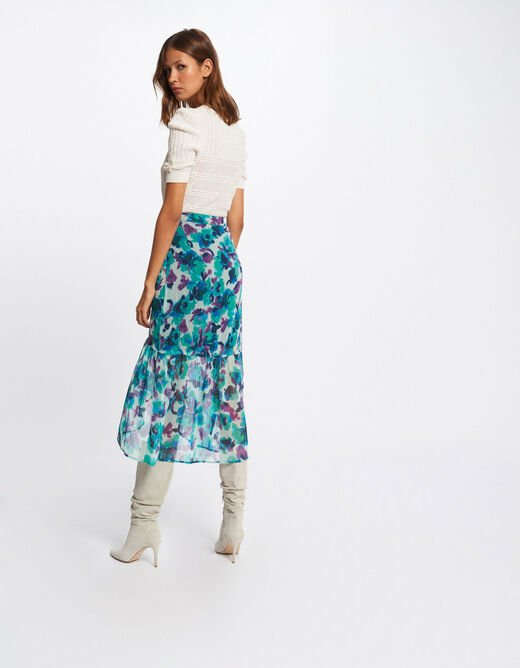 Midi A-line skirt with floral print blue ladies'