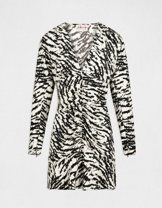 Straight dress with shirring and print black ladies'