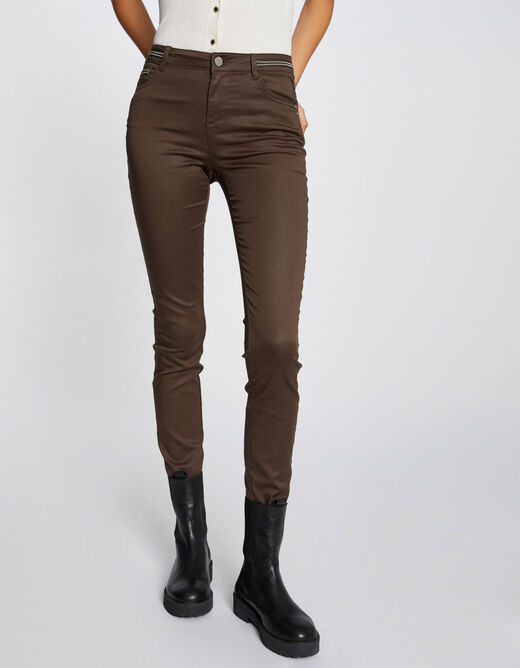 Slim trousers with wet effect taupe ladies'