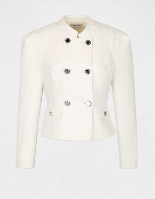Straight jacket with buttons ecru ladies'