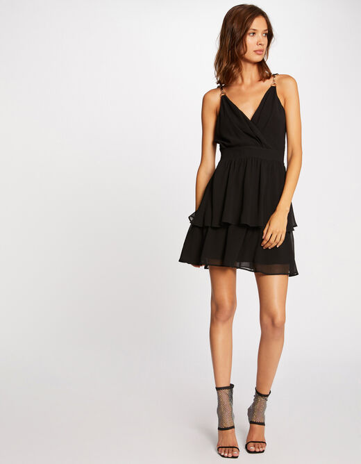 A-line dress with ornaments black ladies'