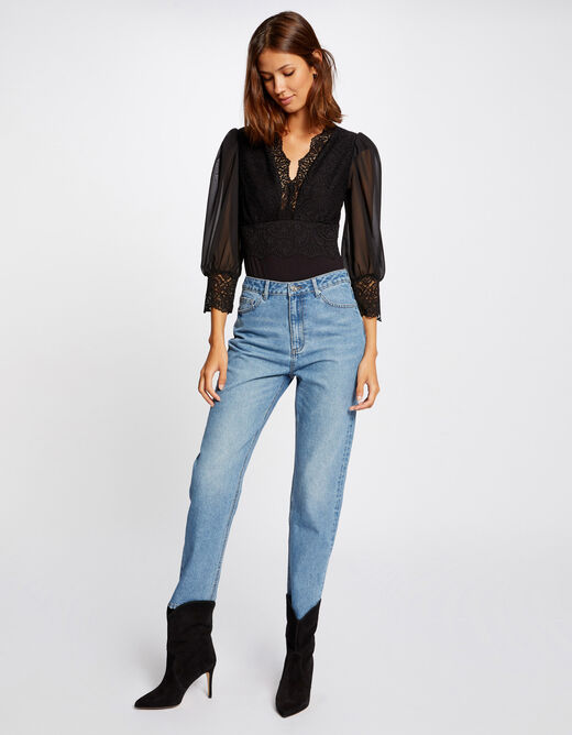 3/4-length sleeved body with lace black ladies'