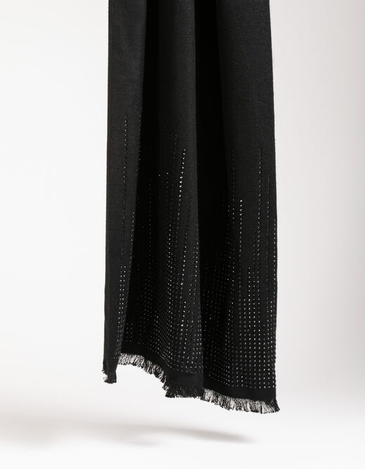 Scarf with glitter and fringes black ladies'