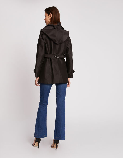 Straight belted trench-coat with buttons black ladies'