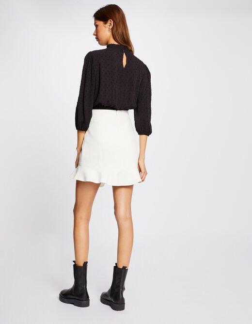 Blouse with puff 3/4-length sleeves black ladies'