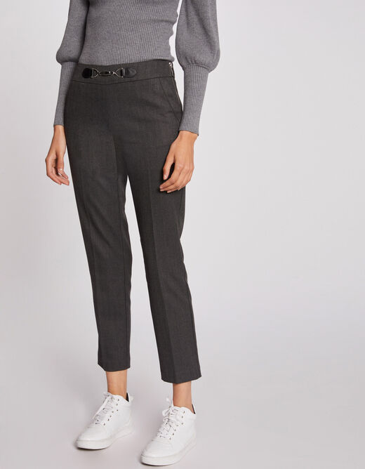 Cropped cigarette trousers with ornament anthracite grey ladies'