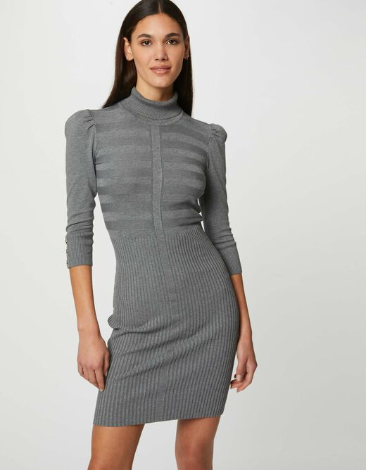 Fitted jumper dress with turtleneck anthracite grey ladies'