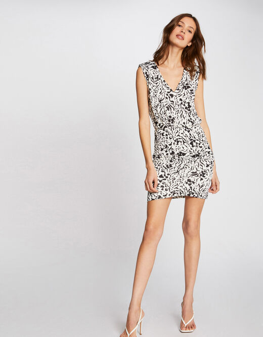 Fitted dress with abstract print white ladies'