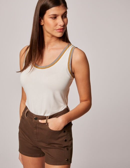 High-waisted slim shorts with buttons khaki ladies'