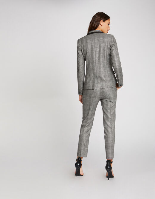 Standard waisted straight trousers silver ladies'