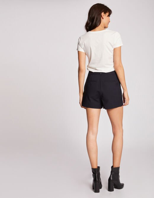 High-waisted straight buttoned shorts navy ladies'