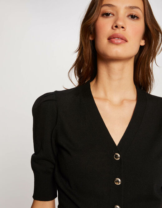 Buttoned 3/4-length sleeved cardigan black ladies'