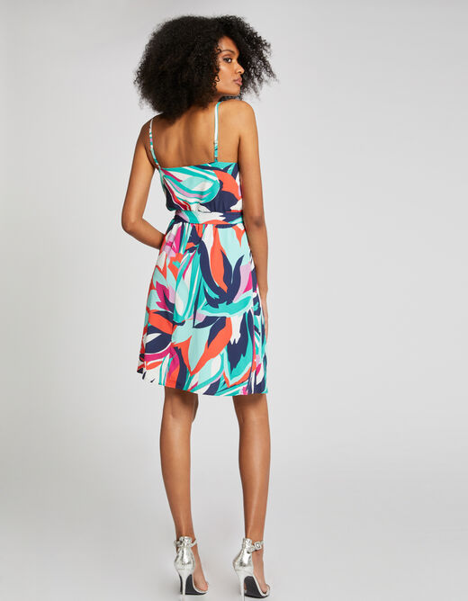 Wrap dress with floral print multico ladies'