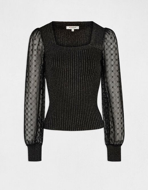 Long-sleeved jumper with square neck rust ladies'