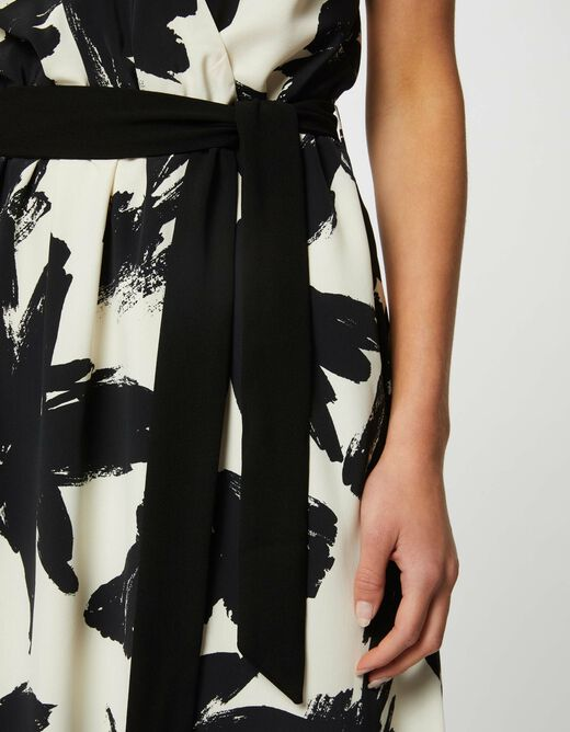 A-line belted dress with abstract print ecru ladies'