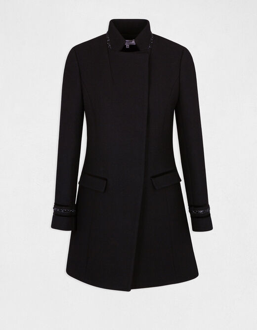 A-line coat with jewelled details black ladies'