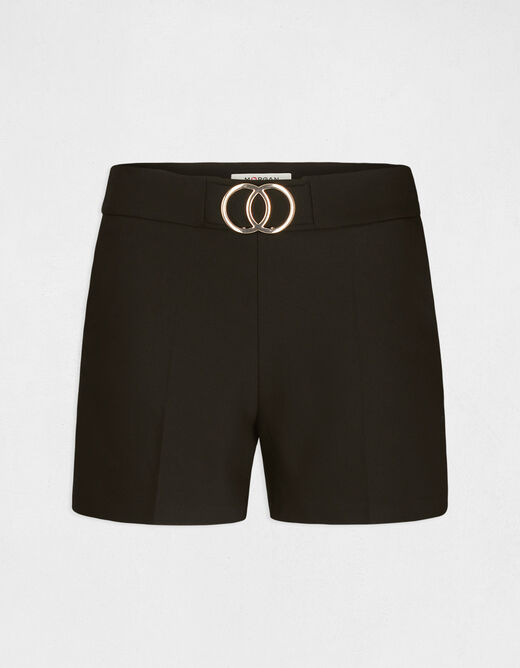 High-waist straight shorts with buckles black ladies'