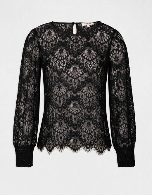 3/4-length sleeved t-shirt with lace navy ladies'