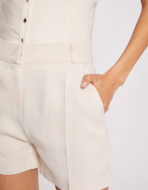 High-waisted straight shorts with darts ivory ladies'