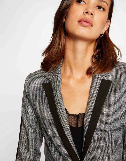 Straight jacket with contrasting strips silver ladies'